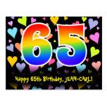 [ Thumbnail: 65th Birthday: Fun Hearts Pattern, Rainbow 65 Postcard ]