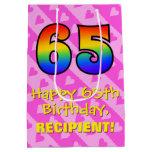 [ Thumbnail: 65th Birthday: Fun Pink Hearts Stripes; Rainbow 65 Gift Bag ]