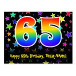 [ Thumbnail: 65th Birthday: Fun Stars Pattern, Rainbow 65, Name Postcard ]