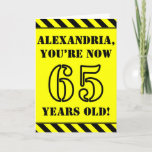 [ Thumbnail: 65th Birthday: Fun Stencil Style Text, Custom Name Card ]