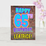 [ Thumbnail: 65th Birthday - Fun, Urban Graffiti Inspired Look Card ]