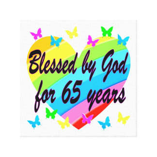 65TH BIRTHDAY GOD LOVES ME DESIGN CANVAS PRINT