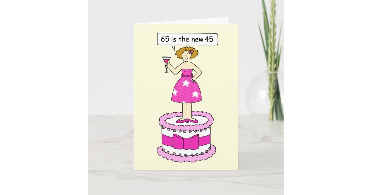 Surprising 65Th Birthday Humor For Her Lady On A Cake Card Zazzle Com Funny Birthday Cards Online Inifofree Goldxyz