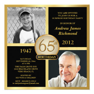 65th Birthday Invitations Then & Now 2 Photos