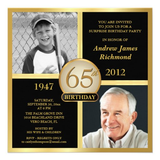 personalized 65th birthday party invitations | custominvitations4u, Birthday invitations