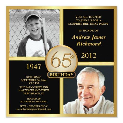 65th Birthday Invitations Then & Now 2 Photos