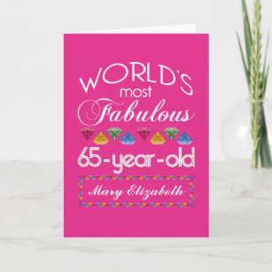 65th Birthday Most Fabulous Colorful Gems Pink Card