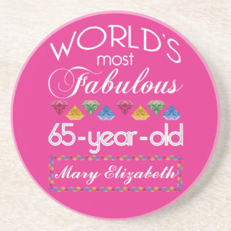 65th Birthday Most Fabulous Colorful Gems Pink Coaster