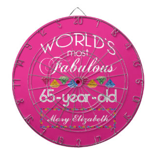 65th Birthday Most Fabulous Colorful Gems Pink Dart Board