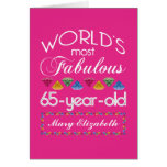 65th Birthday Most Fabulous Colorful Gems Pink Greeting Card
