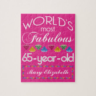 65th Birthday Most Fabulous Colorful Gems Pink Jigsaw Puzzle