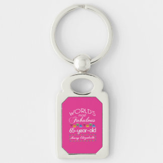 65th Birthday Most Fabulous Colorful Gems Pink Keychain