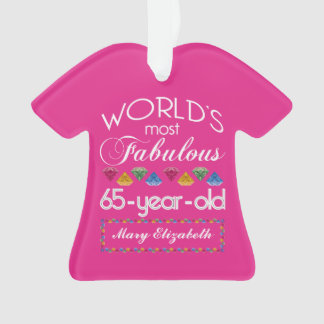 65th Birthday Most Fabulous Colorful Gems Pink Ornament