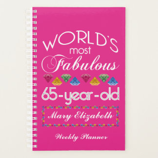 65th Birthday Most Fabulous Colorful Gems Pink Planner