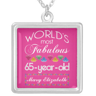 65th Birthday Most Fabulous Colorful Gems Pink Silver Plated Necklace