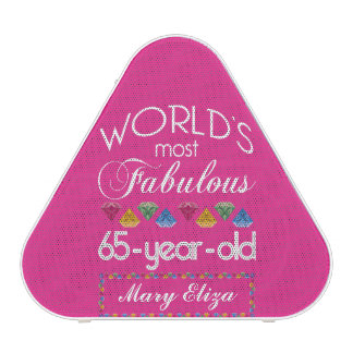 65th Birthday Most Fabulous Colorful Gems Pink Speaker