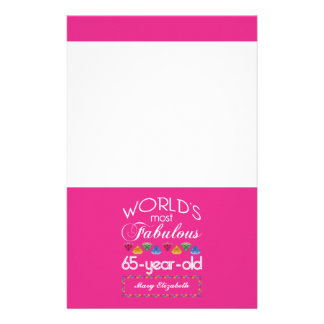 65th Birthday Most Fabulous Colorful Gems Pink Stationery