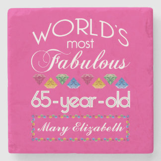 65th Birthday Most Fabulous Colorful Gems Pink Stone Coaster