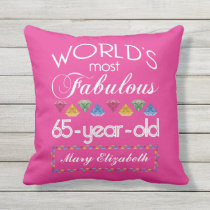 65th Birthday Most Fabulous Colorful Gems Pink Throw Pillow