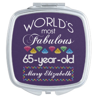 65th Birthday Most Fabulous Colorful Gems Purple Makeup Mirror