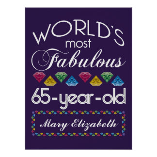 65th Birthday Most Fabulous Colorful Gems Purple Posters
