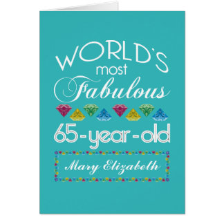 65th Birthday Most Fabulous Colorful Gems Turquois Card