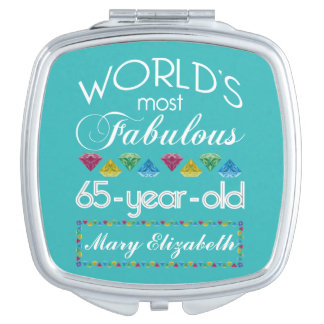 65th Birthday Most Fabulous Colorful Gems Turquois Compact Mirror