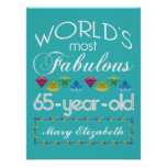 65th Birthday Most Fabulous Colorful Gems Turquois Poster