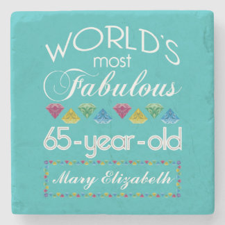 65th Birthday Most Fabulous Colorful Gems Turquois Stone Coaster
