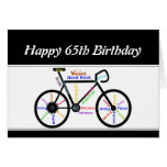 65th  Birthday Motivational Bike Bicycle Cycling Greeting Card