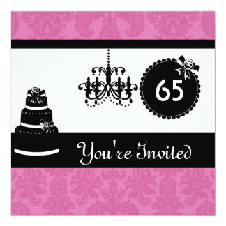 65th Birthday Party Black & White  Damask Inviites Card