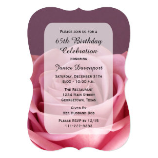 65th Birthday Party Breathtaking Rose 5x7 Paper Invitation Card