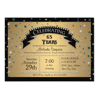65th Birthday Party Celebrate Faux Jewel Confetti Card