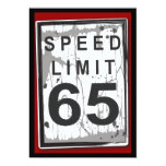 "65th Birthday Party Grungy Speed Limit Sign 5"" X 7"" Invitation Card"
