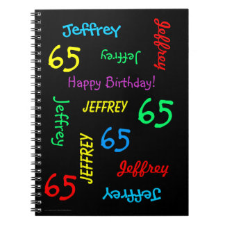 65th Birthday Party Guest Book, Repeat Name Black Spiral Notebook