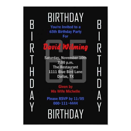 65th Birthday Party Invitation 65