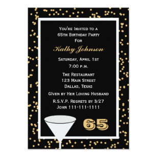 65 birthday party invitations announcements zazzle 65th birthday party invitation 65 and confetti stopboris Gallery
