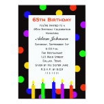 65th Birthday Party Invitation -- Candles and Dots Personalized Invitation