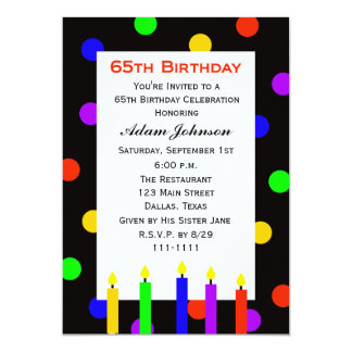 65th Birthday Party Invitation Candles and Dots