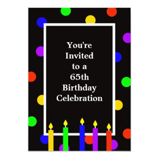 65th Birthday Party Invitation Colorful Candles