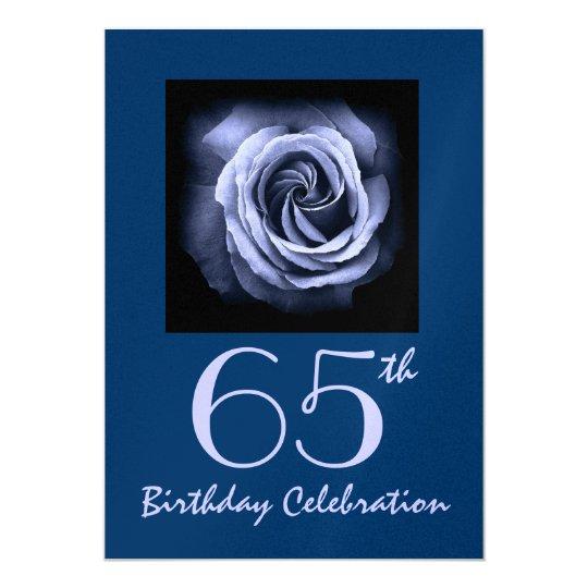 65th Birthday Party Invitation Dreamy Blue Rose