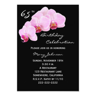 65th Birthday Party Invitation Orchids