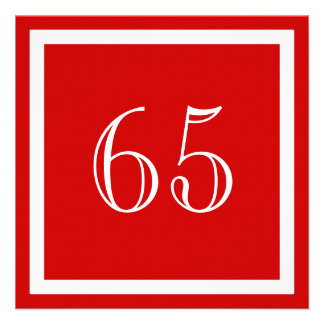 65th Birthday Party Invitation - Red