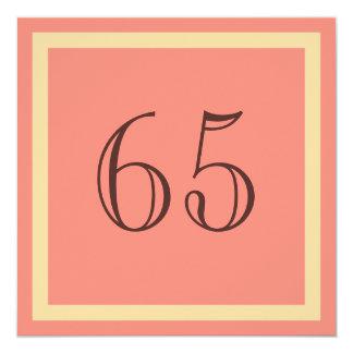 """65th Birthday Party Invitation - Salmon Coral 5.25"""" Square Invitation Card"""