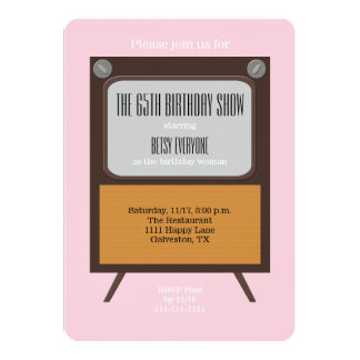 65th Birthday Party Invitation TV on Pink