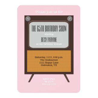 65th Birthday Party Invitation TV on Pink