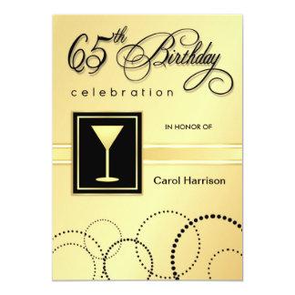65th Birthday Party Invitations - Gold Monogram