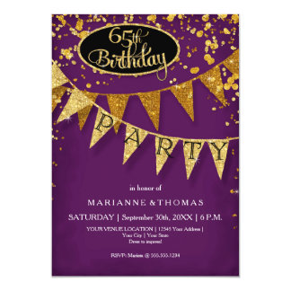65th Birthday Party Pennant Banner Confetti Card
