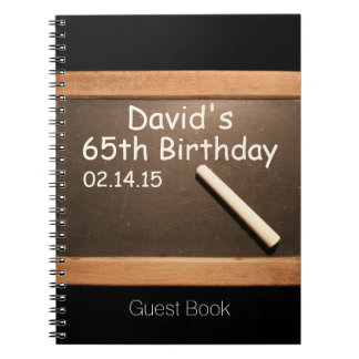 65th Birthday Party Personalized Guest Book Spiral Note Book