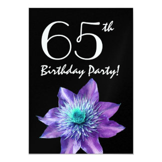 65th Birthday Party Template Purple Passion Flower 5x7 Paper Invitation Card